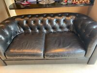 Black Leather Chesterfield Sofa with matching footstool