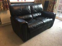 FurnitureVillage -2 Seater Black Leather Sofa