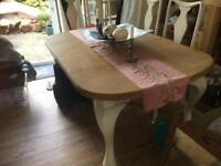 Solid oak dining table shabby chic