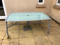 6 seater outside table and chairs with umbrella