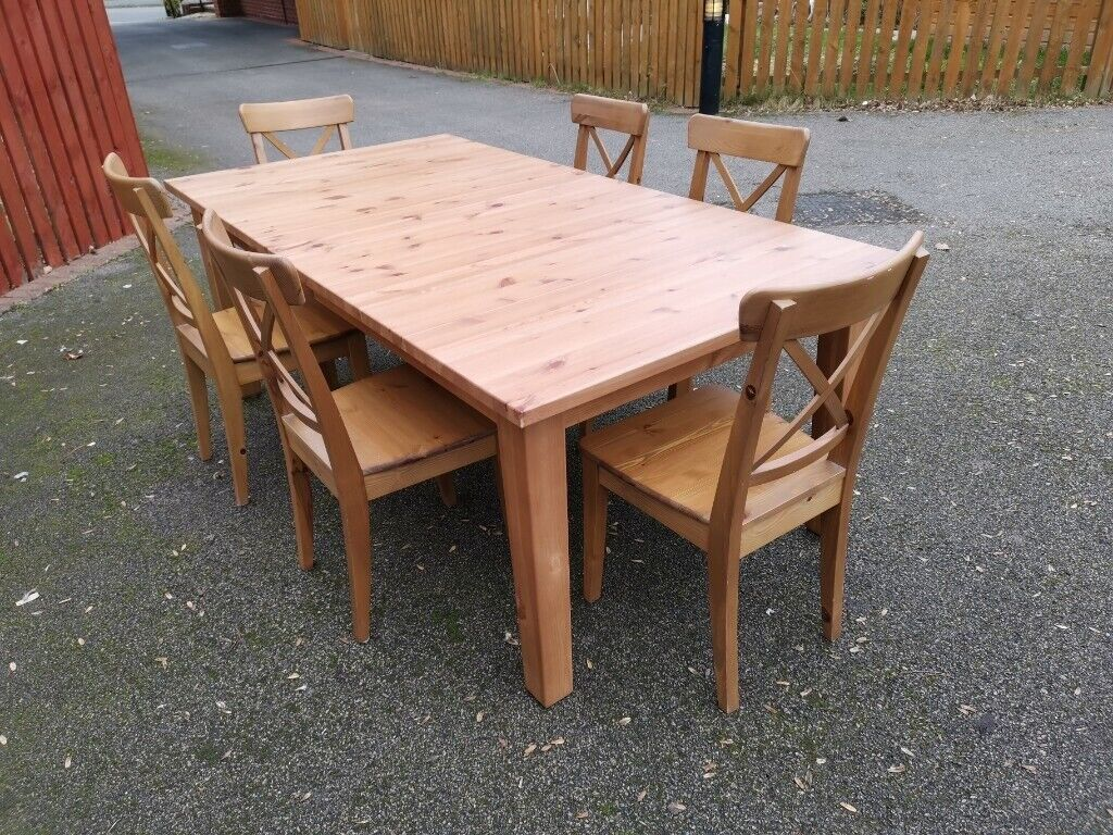 Ikea Stornas Antique Stain Table 6 Ingolf Chairs Free Delivery 723 In Leicester Leicestershire Gumtree