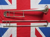 Vintage 1920s Hawkes & Son Excelsior Sonorous Silver Plated Trombone