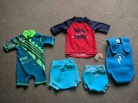 Baby Swim Bundle - wet suit/ wrap/ swim nappy/ vest - 0-3 & 3-6 months