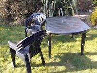 Patio Garden table and 6 chairs been stored in shed good condition.