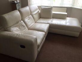 Cream full leather corner suite