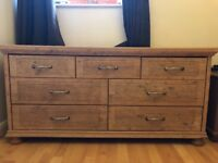 Solid pine matching wardrobe and dresser with draws