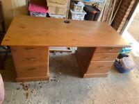 Desk with drawers & cupboard