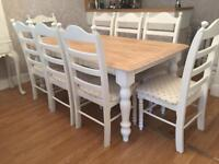 Lovely 6ft Shabby Chic Chunky Farmhouse Oak Table and 8 Chairs