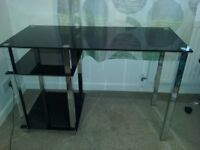 Desk - black glass with chrome legs