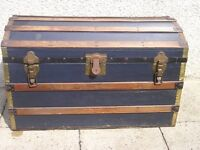 VINTAGE DOME TOP TRUNK/STORAGE CHEST