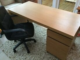Large office desk with draw and cupboard and swivel chair