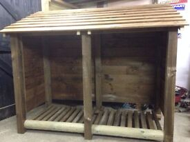 FIRE WOOD/ LOG STORE/ SHED/SHELTER. BRAND NEW. RUSTIC YET STYLISH, STURDY AND FUNCTIONAL.
