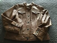 Worn once ,gap brown leathers jacket.
