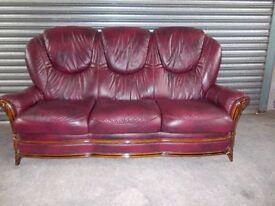 Burgundy Italian Leather 3-1-1 Suite (Sofa)