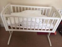 New and unused white Mothercare baby rocking crib