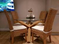 Beautiful solid oak & glass dining table + 4 chairs