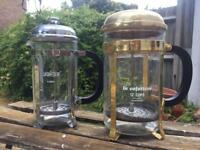 Brass and stainless steel cafetieres