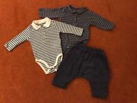3 piece set - vertbaudet baby striped vest and corduroy trousers set 0-3m