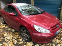 Peugeot 307cc 180ps 1997cc Petrol 5 speed manual 2 door Convertible 04 Plate 05/04/2004 Red