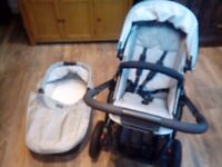 BRITAX SMILE NEWBORN TO 3YRS PRAM, BUGGY STROLLER WITH CARRYCOT AND BUGGY BOARD *LOOKS NEW*