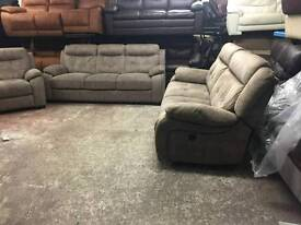 3seater sofa+ 2 seater that is a very large reclining lounger with usb and chair