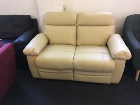 Brand New Designer Cream 100% Leather Reclining 2 and 3 Seater Sofa set