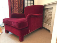 5 designer armchairs & chairs: 1 red velvet armchair, 1 natural leather arm chair + set of 3 chairs