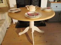 Shabby Chic Solid Beech Pedestal Dining Table. Laura Ashley Pale Linen
