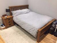 Original Rustic Solid Oak double bed, memory foam mattress, 1 bedside table - Oak Furniture Land
