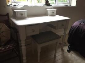 Antique shabby shic dressing table and stool