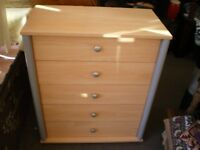 REDUCED-BEECH EFFECT CHEST OF DRAWERS