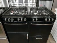 Black A+ Class 8 Gas Burners Diplomat Cooker With Extractor Hood Included