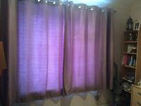 2 x light purple curtains - approx 180cms length 160cms width each one