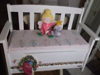 White seat with lift up lid toy storage, John Lewis, Fairy door feature,Excellent cond.