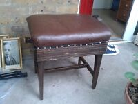 Piano Stool Adjustable Faux leather Old but good condition