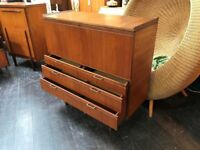 Side Cabinet with Bureau by Meredew. Retro Vintage Mid Century
