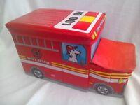 Children's storage box novelty fire engine. Soft fabric covered toy storage box.
