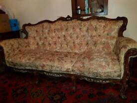 Vintage Sofa, armchair and pouffe
