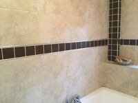 Ceramic tiles - Sandstone type colour (large) and dark brown (small)