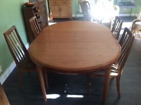 G Plan table and 4 chairs.