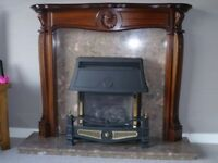 mahogany fire surround with Marble back and Hearth