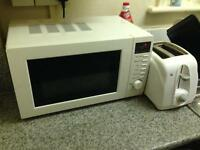 White microwave and toaster