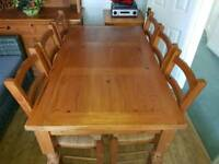 Mexican Pine Dining Table & x6 Chairs
