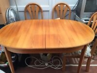 Wooden Dining Room Table and x4 chairs