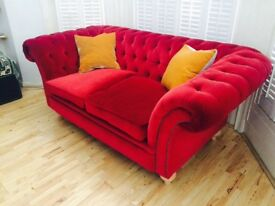 Luxury rare red velvet Chesterfield feather plump sofa from Germany . Notting Hill