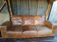 FREE THREE SEATER REAL LEATHER BROWN SOFA