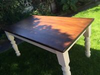 Dining kitchen table very heavy solid Oak top currently dismantled for easy move