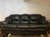 REAL BLACK LEATHER SOFA 3 SEATER USED