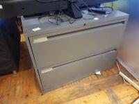 1 x Large grey metal filing cabinet