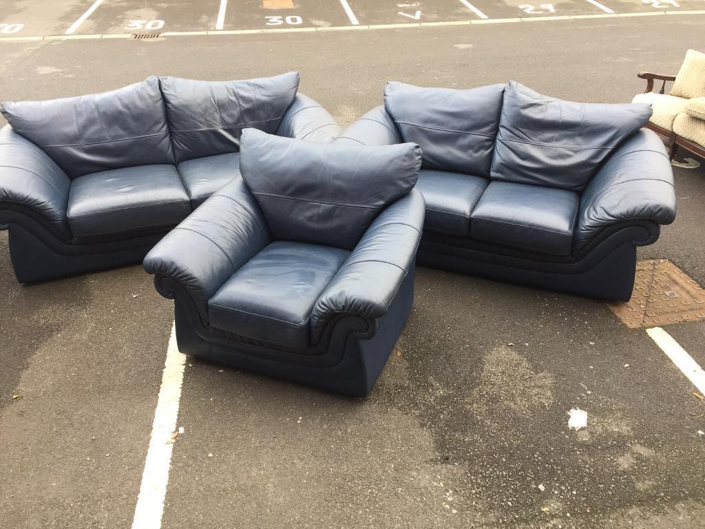 3+2+1 Deep Blue Leather Sofa Set